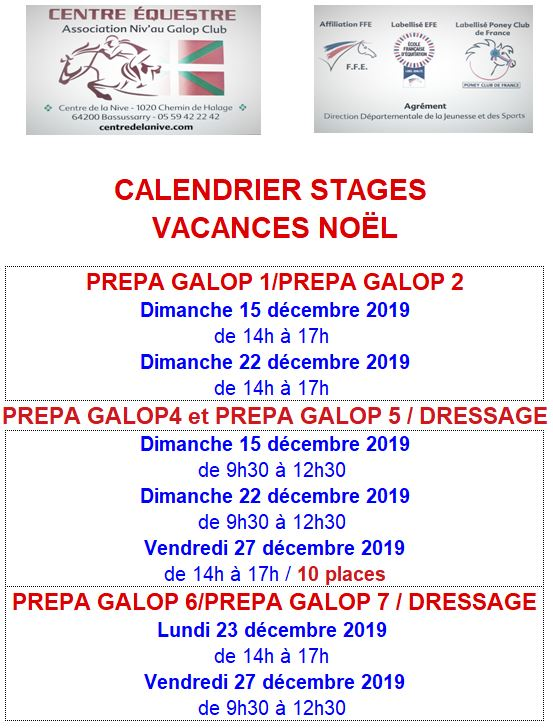 calendrier stages noël 2019