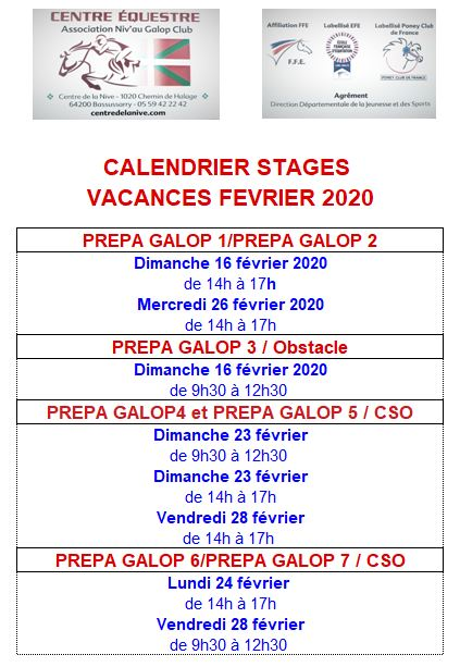 calendrier stages février 2020
